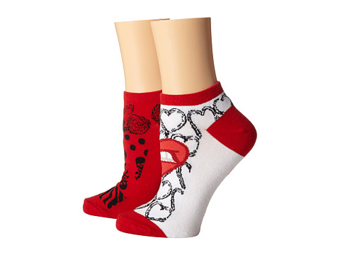Betsey Johnson - Kiss This 2 Pack No Show (White) Women's No Show Socks Shoes