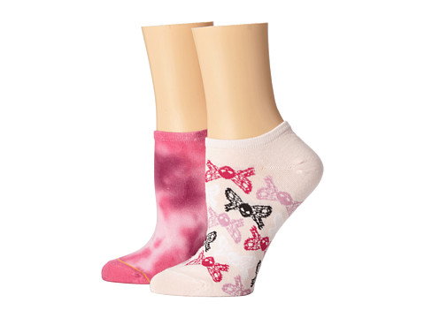 Betsey Johnson - Tie Dye 2 Pack No Show (Pink) Women's No Show Socks Shoes
