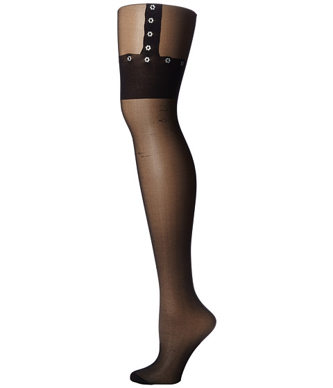 Betsey Johnson - Faux Garter Tight (Black) Hose