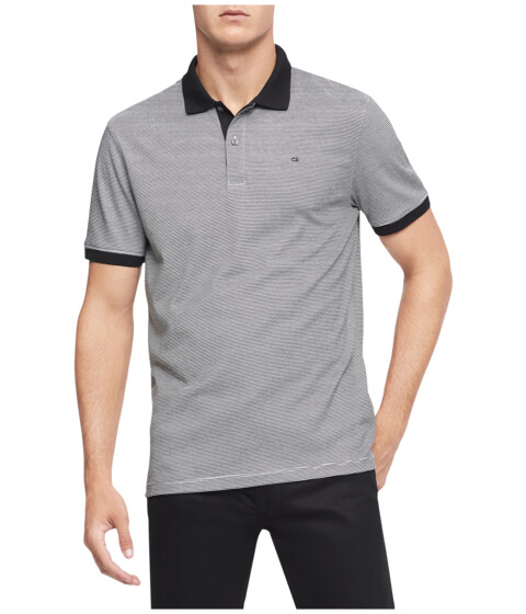 Calvin Klein - S/S 2 Button Liquid Cotton Interlock Polo (Black/Cellar) Men's Short Sleeve Pullover