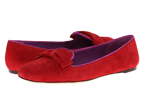 Johnston & Murphy - Riley Bow Slipper (Cardinal Red Suede) Women