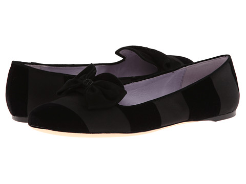 Johnston & Murphy - Riley Bow Slipper (Black Stripe Flock) Women's Slip on Shoes