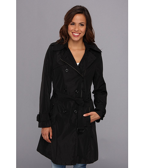 G.E.T. - Zip Trench Coat (Black) Women's Coat