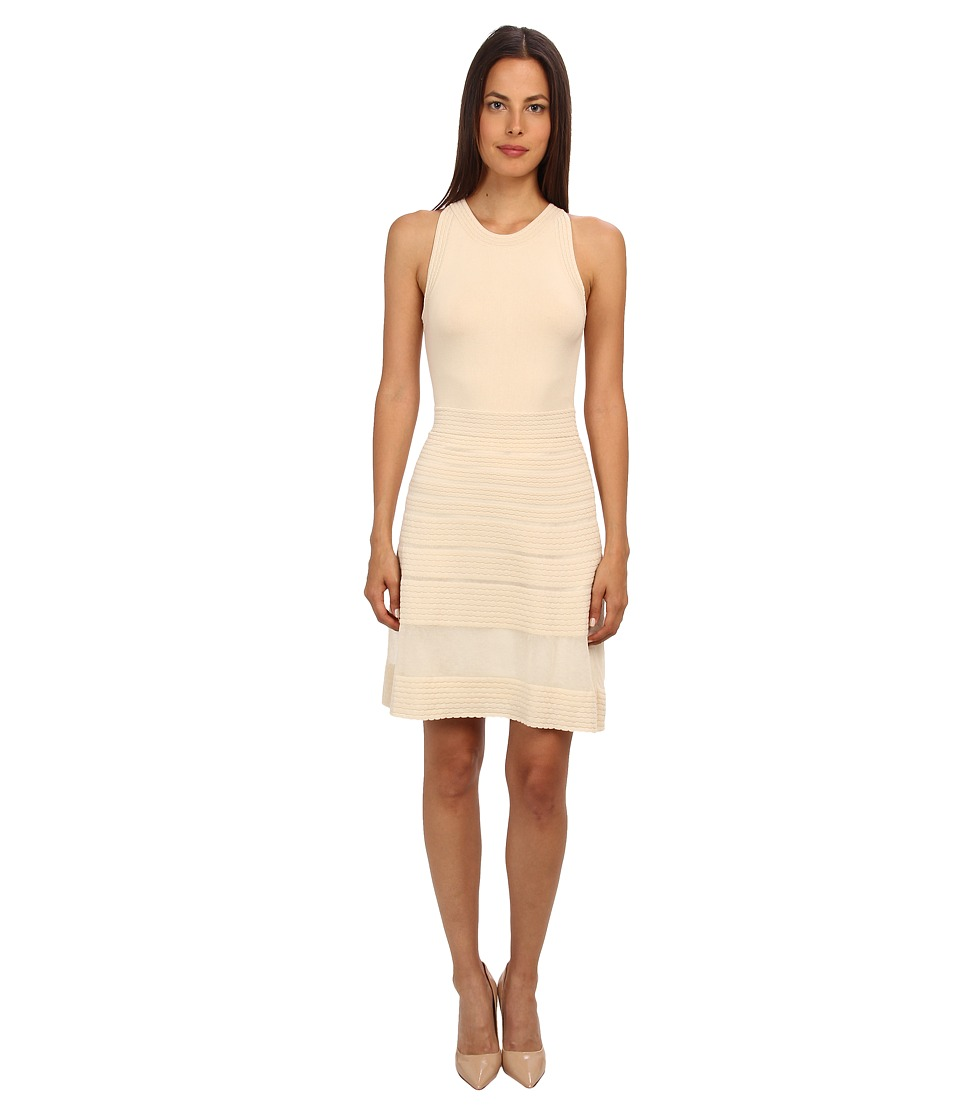 M Missoni - Solid Rib Stitch Sleeveless Dress (Ivory) Women's Dress