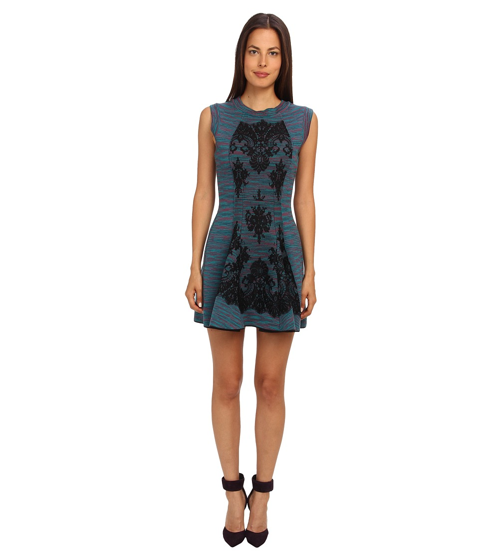 M Missoni - Spacedye Doubleknit w/ Lace Overlay Dress (Teal) Women's Dress