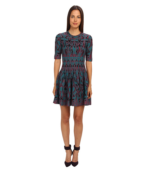M Missoni - Art Deco Fleur De Lis Jacquard Dress (Teal) Women's Dress