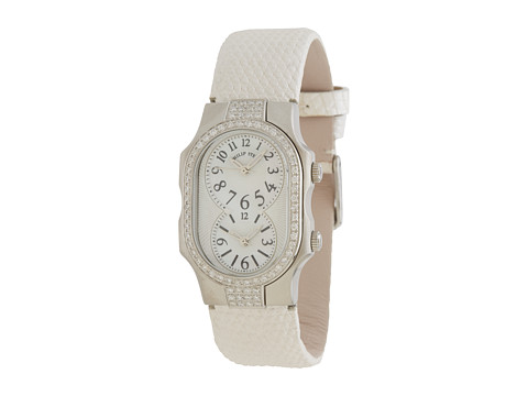 Philip Stein - Small Signature Double Diamond Stainless Steel Watch on White Metallic Lizard Strap (White) Analog Watches