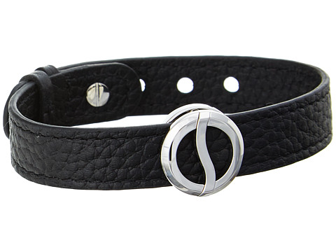 Philip Stein - Stainless Steel Buckle Bracelet with Black Calf Strap (Black) Bracelet