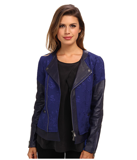 Rebecca Taylor - Quilted Floral Jacket w/ Leather (Midnight) Women's Coat