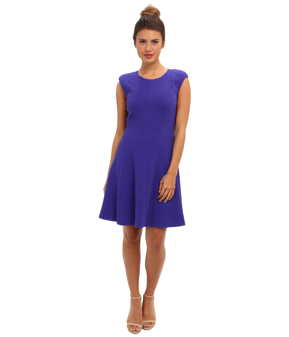 Rebecca Taylor - Sleeveless Text Ponte Dress (Royal) Women's Dress