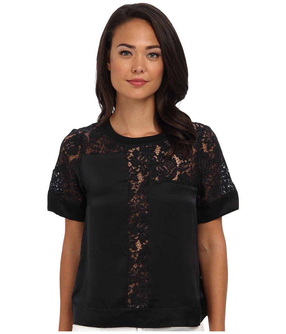 Rebecca Taylor - S/S Silk Lace Inset Top (Black) Women