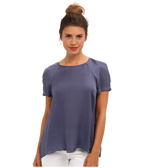 Rebecca Taylor - S/S Ham Silk Pleat Back Tee (Twilight) Women's Blouse