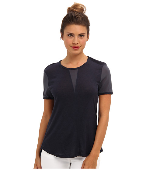 Rebecca Taylor - S/S Silk Knit Top (Slate Blue) Women's Short Sleeve Pullover