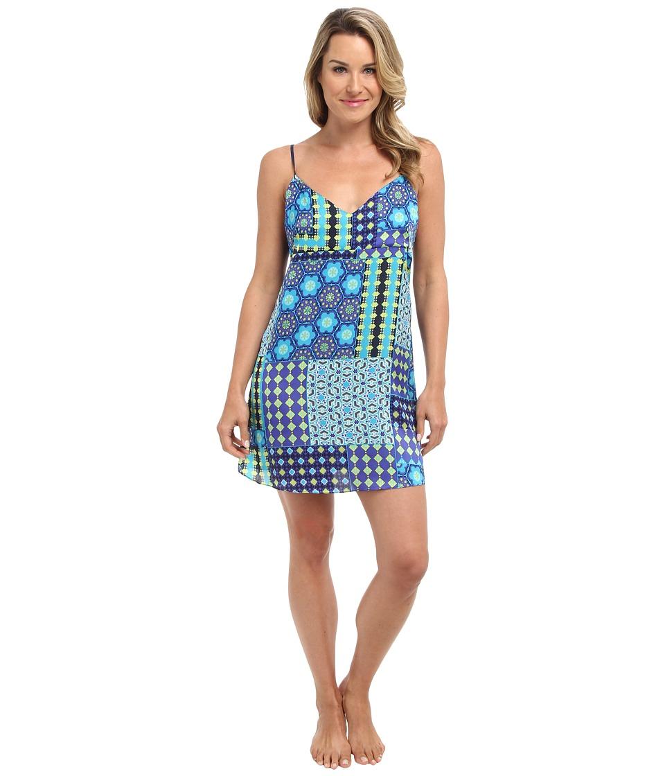 Josie - Nadia Printed Satin Chemise (Blue Multi) Women's Pajama