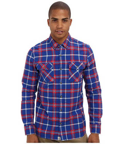 Vans - Payne L/S Shirt (Cobalt/Reinvent Red) Men's Long Sleeve Button Up