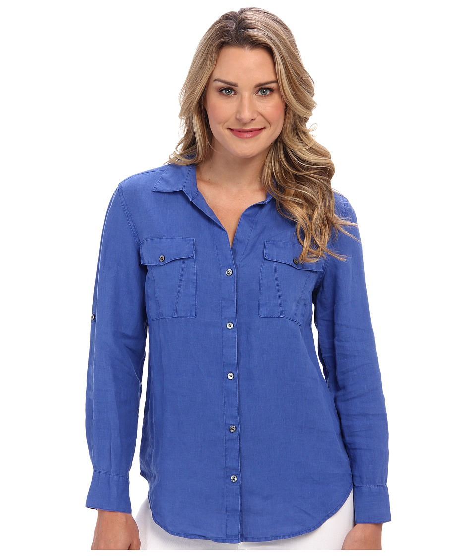 Tommy Bahama - Two Palms Split Seam Pocket Shirt (Cobalt/Cobalt/Academy) Women