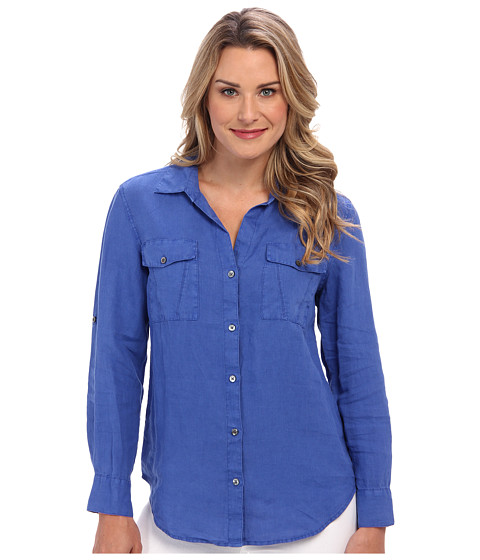Tommy Bahama - Two Palms Split Seam Pocket Shirt (Cobalt/Cobalt/Academy) Women's Long Sleeve Button Up