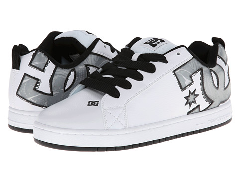 DC - Court Graffik SE (White/Black/White) Men's Skate Shoes