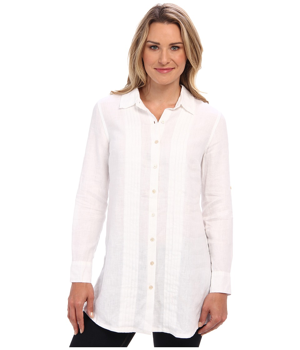 Tommy Bahama - Two Palms Pleat Front Shirt (White) Women's Long Sleeve Button Up