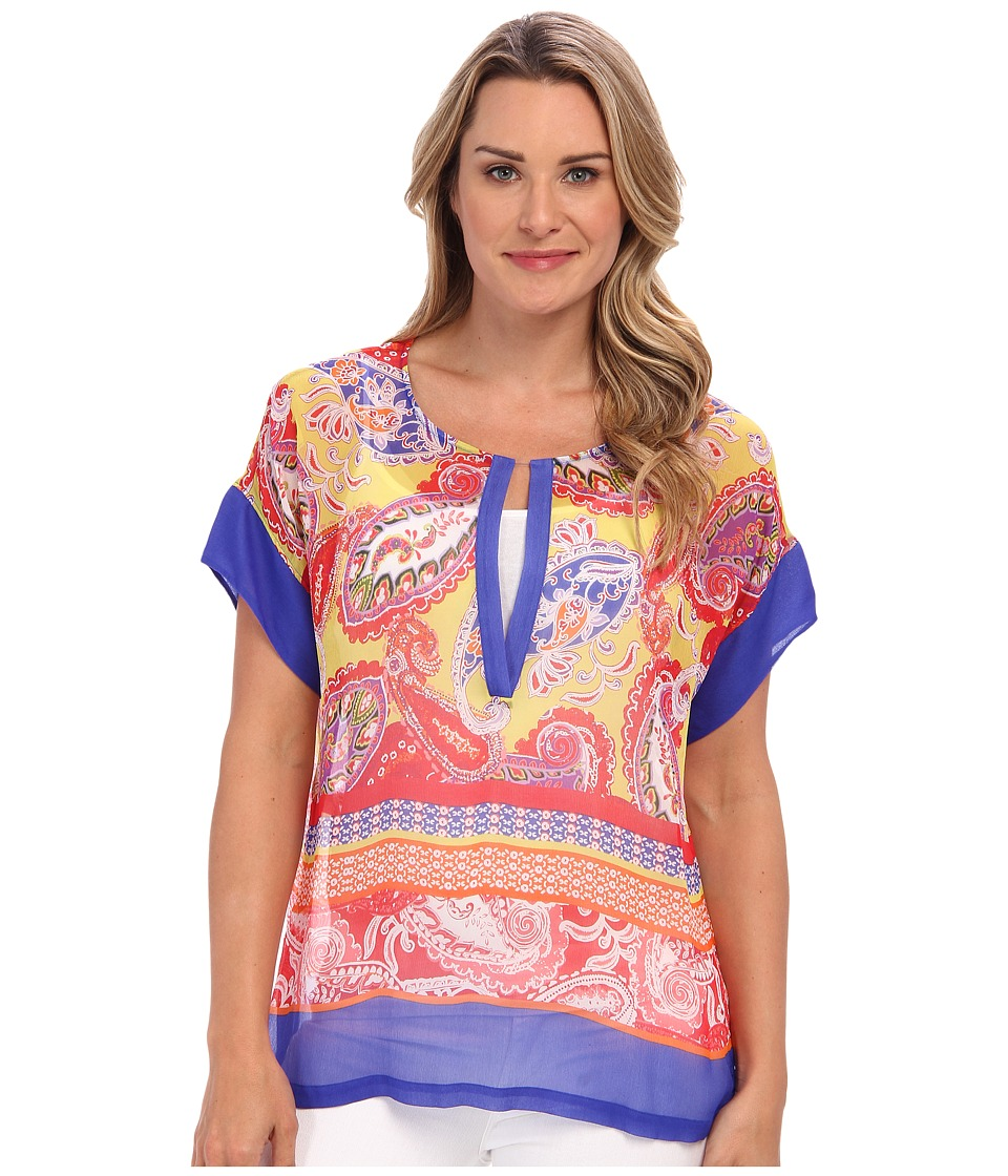 Tommy Bahama - Carino Paisley Top (Cobalt/Cobalt/Academy) Women's Short Sleeve Pullover