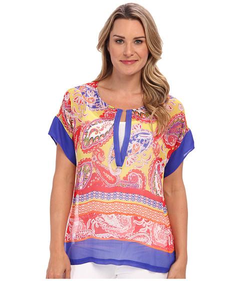 Tommy Bahama - Carino Paisley Top (Cobalt/Cobalt/Academy) Women's Short Sleeve Pullover