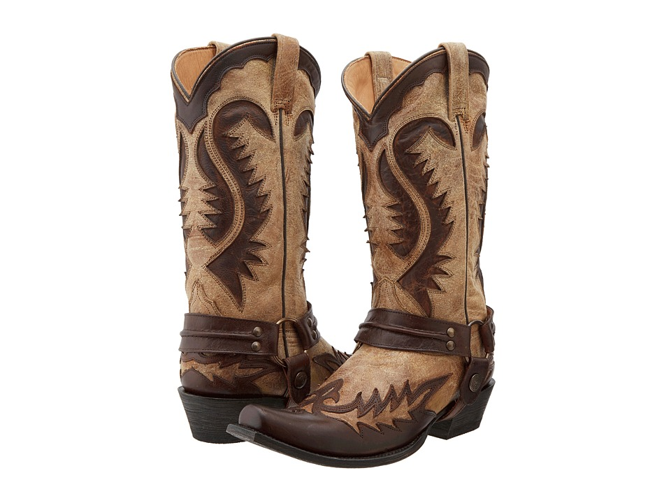 Stetson - Snip Toe Harness Boot (Brown) Cowboy Boots
