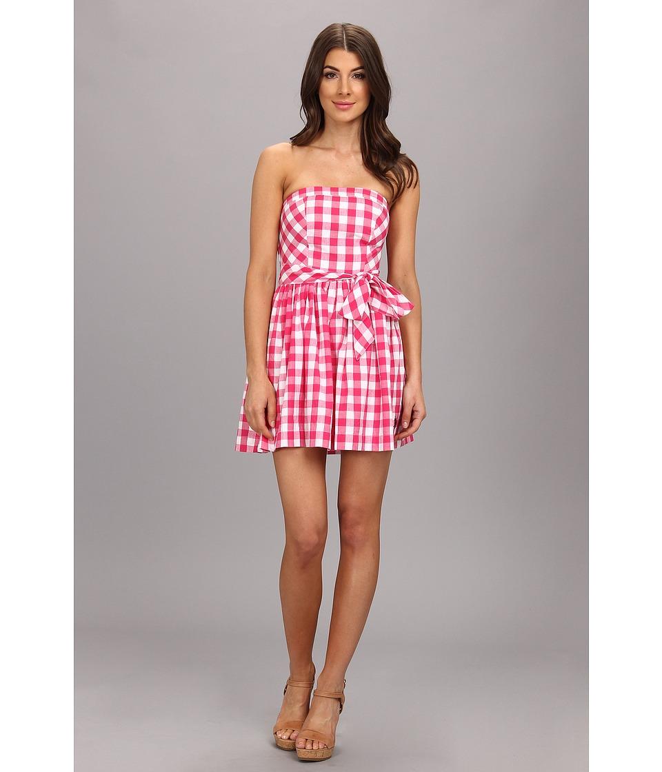 U.S. POLO ASSN. - Cotton Plaid Strapless Dress with Self Belt (Berry Success) Women
