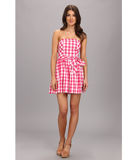 U.S. POLO ASSN. - Cotton Plaid Strapless Dress with Self Belt (Berry Success) Women