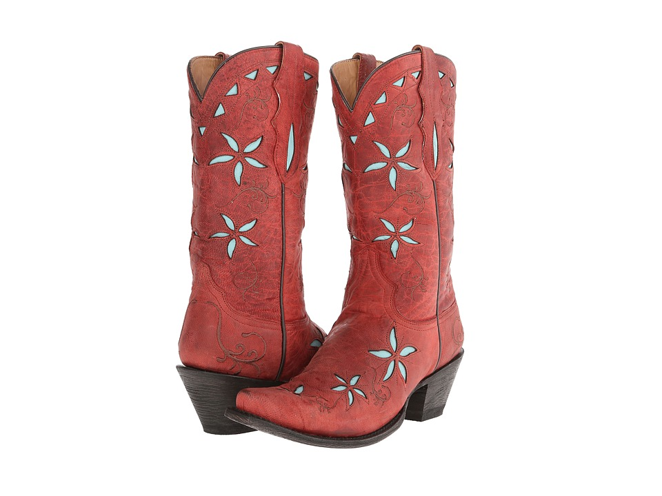 Stetson - Contrasting Flower Underlay 13 (Red/Light Blue) Cowboy Boots