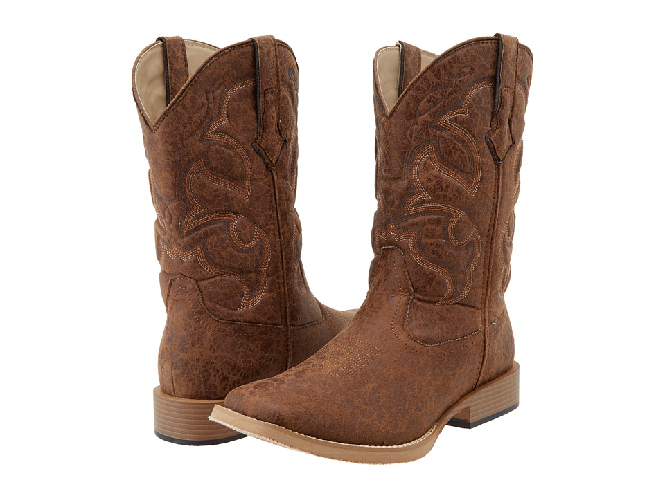 Roper - Distressed Square Toe Cowboy Boot (Tan) Cowboy Boots