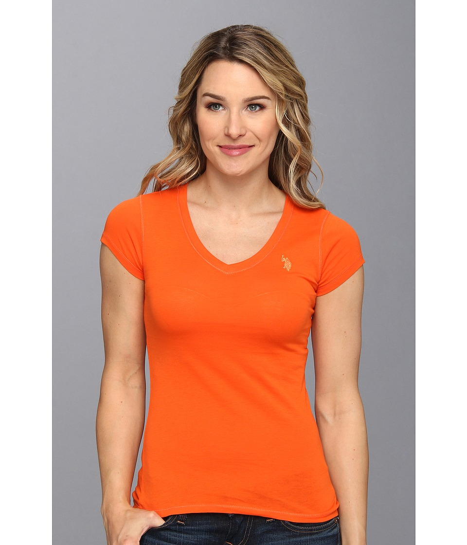 Us Polo Assn Solid V Neck Tee Womens T Shirt Orange