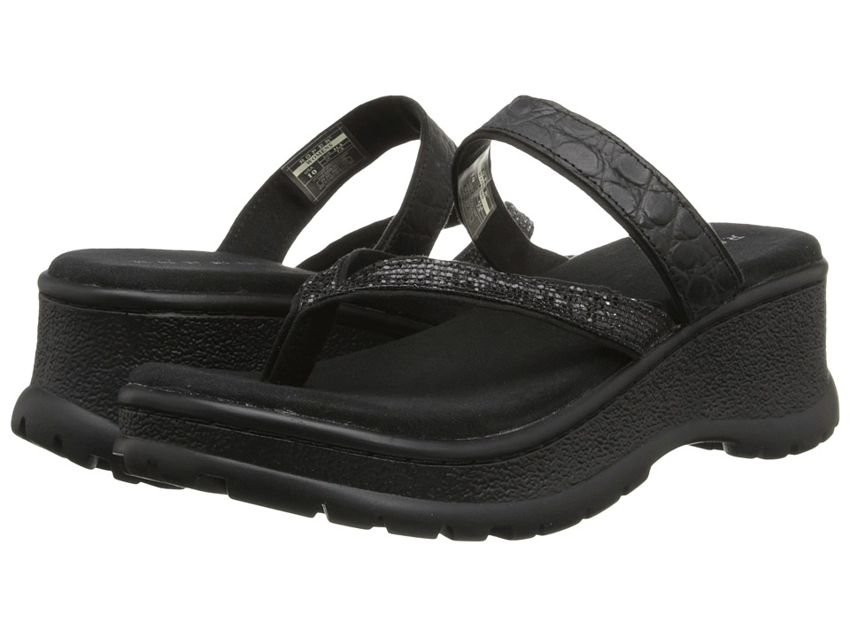 Roper - Glitter Strap Comfort Wedge (Black) Women's Sandals