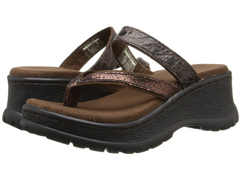 Roper - Glitter Strap Comfort Wedge (Brown) Women's Sandals