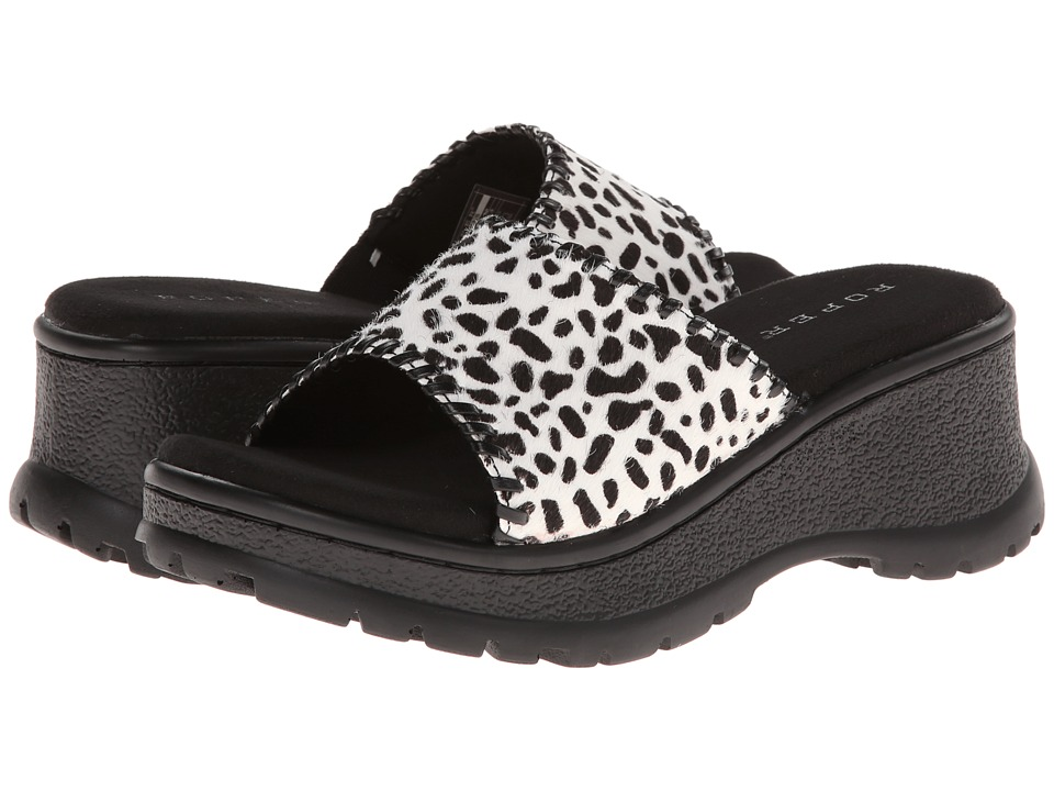 Roper - Animal Print Hair On Sandal (Black/White) Women's Slide Shoes