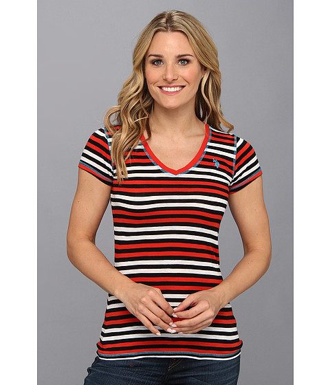 U.S. POLO ASSN. - Multi-Stripe V-Neck T-Shirt with Small Pony (Havana Red) Women