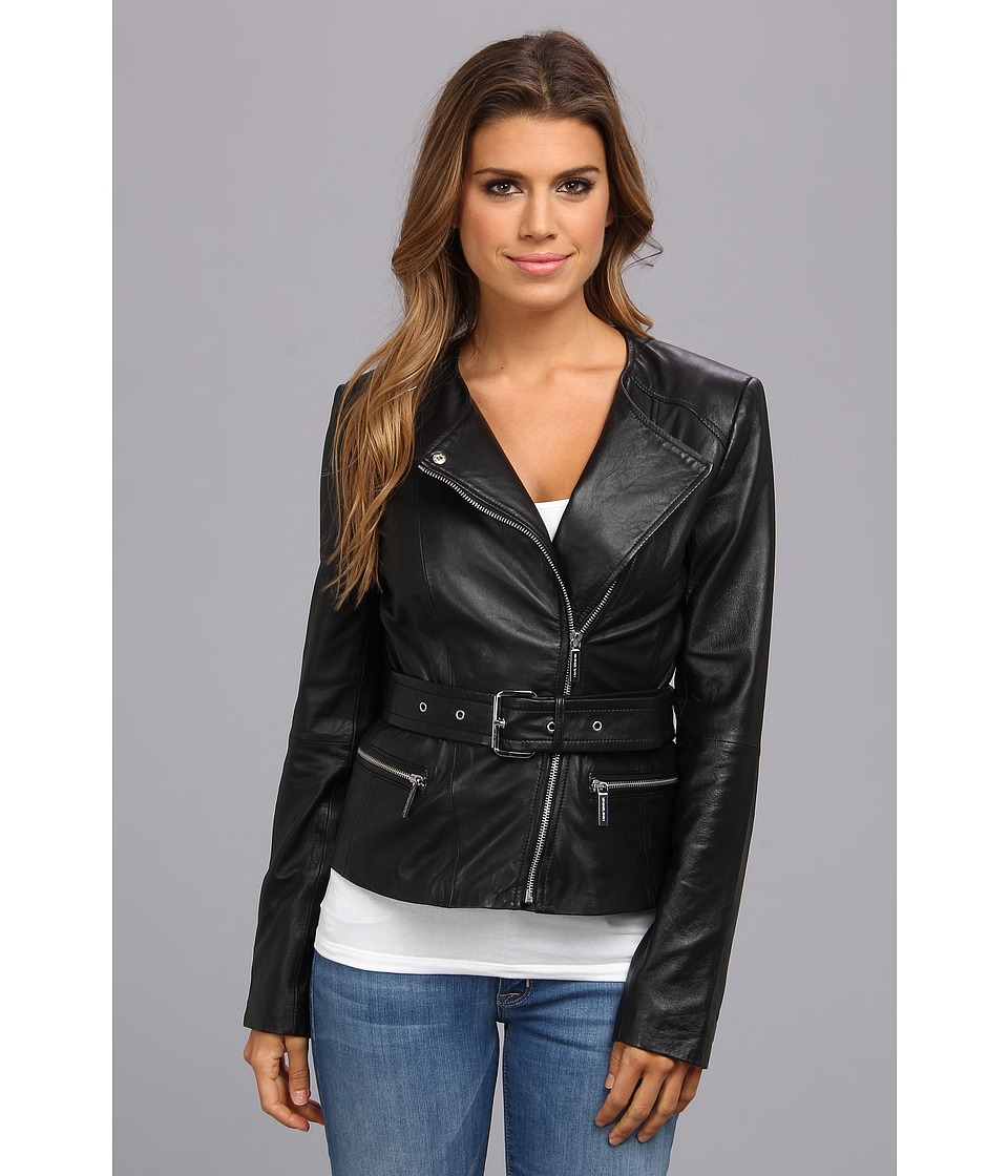 MICHAEL Michael Kors - Belted Moto Jacket (Black) Women