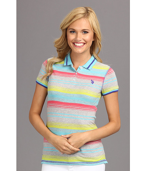 U.S. POLO ASSN. - Slub Multi Color Stripe Short Sleeve Polo (Maui Blue) Women