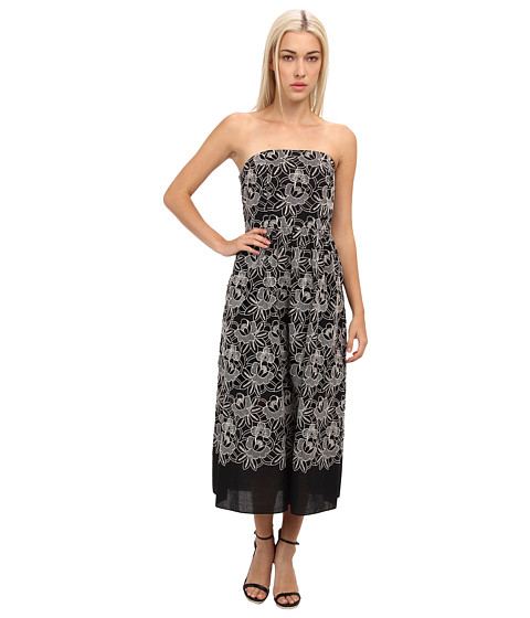 tibi - Embroidery Cut Out On Eyelet Cotton Voile Strapless Dress (Black Multi) Women's Dress