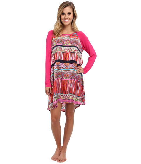 Josie - Katina Printed Satin w/ Solid Modal L/S Tunic (Multi) Women's Pajama