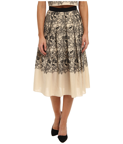 tibi - Embroidery Cut Out On Eyelet Cotton Voile Party Skirt (Bisque Multi) Women