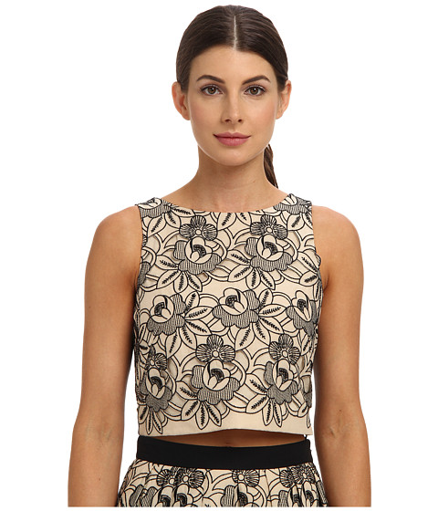 tibi - Embroidery Cut Out On Eyelet Cotton Voile Cropped Top (Bisque Multi) Women
