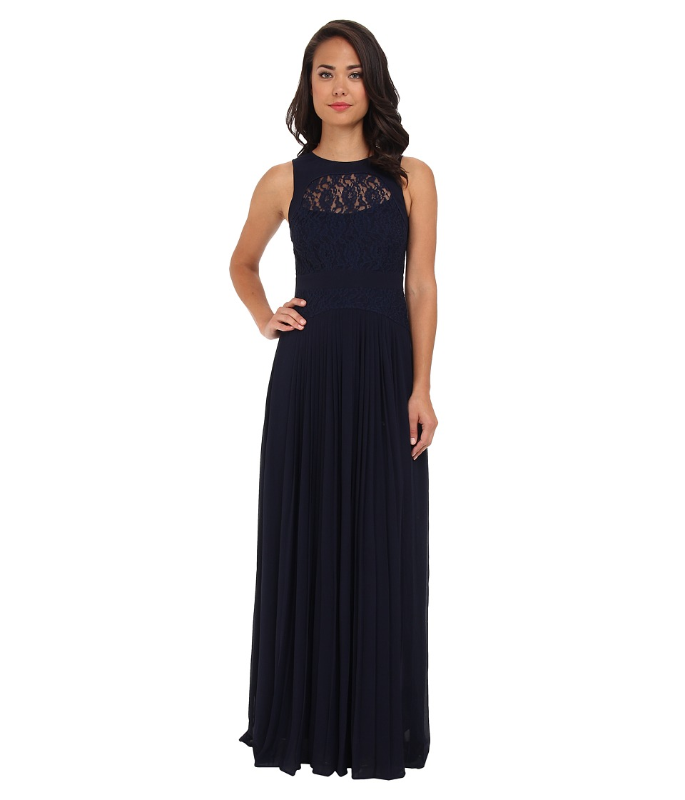 Jessica Simpson - Sleeveless Pleated Maxi Dress (Blue) Women's Dress