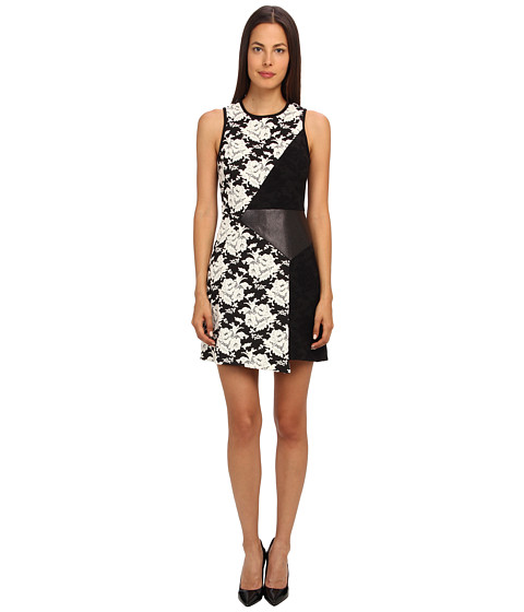 tibi - Floral Tapestry Jacquard Asymmetric Dress w/ Embossed Leather Panel (Black Multi) Women