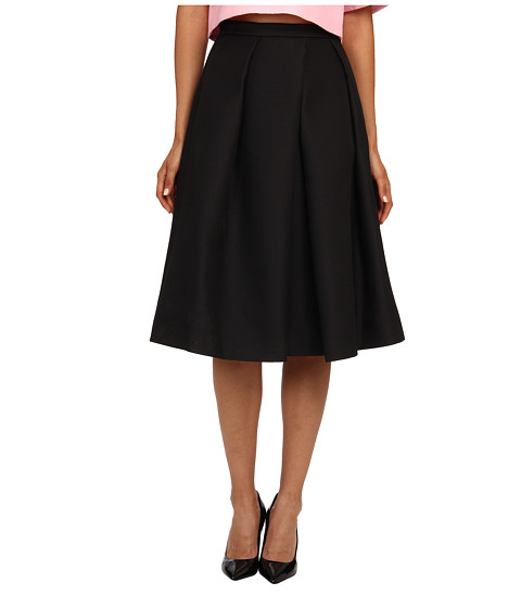 tibi - Simona Jacquard Full Skirt w/ Pleat Detail (Black) Women's Skirt