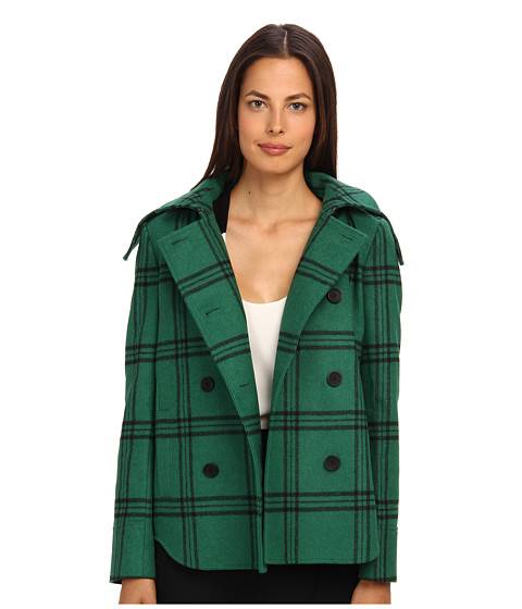 tibi - Evergreen Plaid Hooded Coat (Evergreen Multi) Women