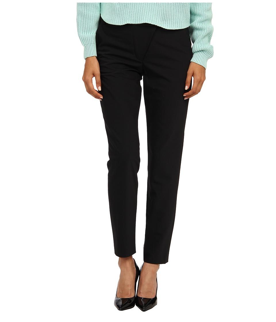 tibi - Tropical Wool Wrap Over Combo Pants w/ Leather Yoke Back Ankle Zip (Black) Women's Casual Pants