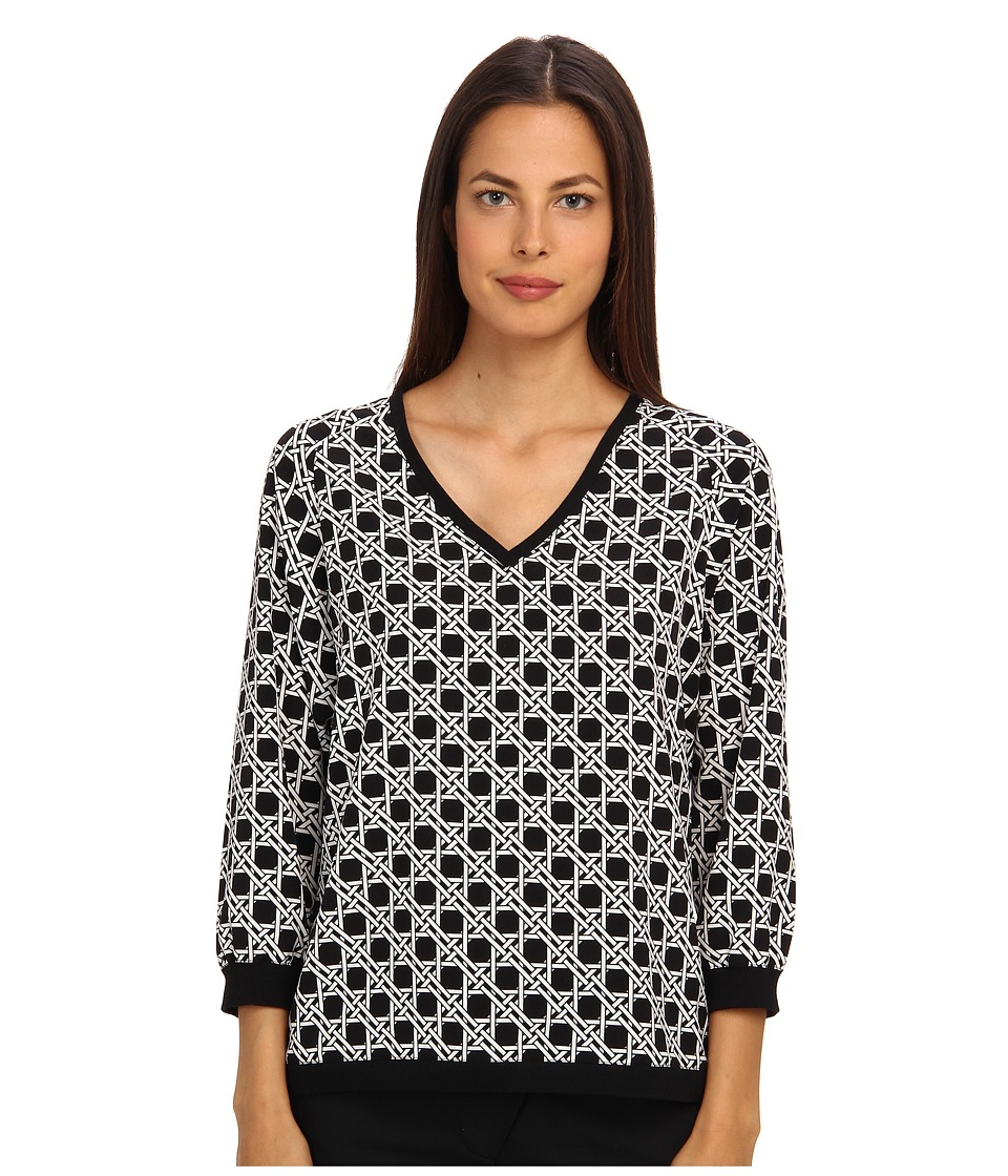 tibi - Sequoia On Poly Cdc 3/4 Sleeve V-Neck Top (Black Multi) Women's Long Sleeve Pullover