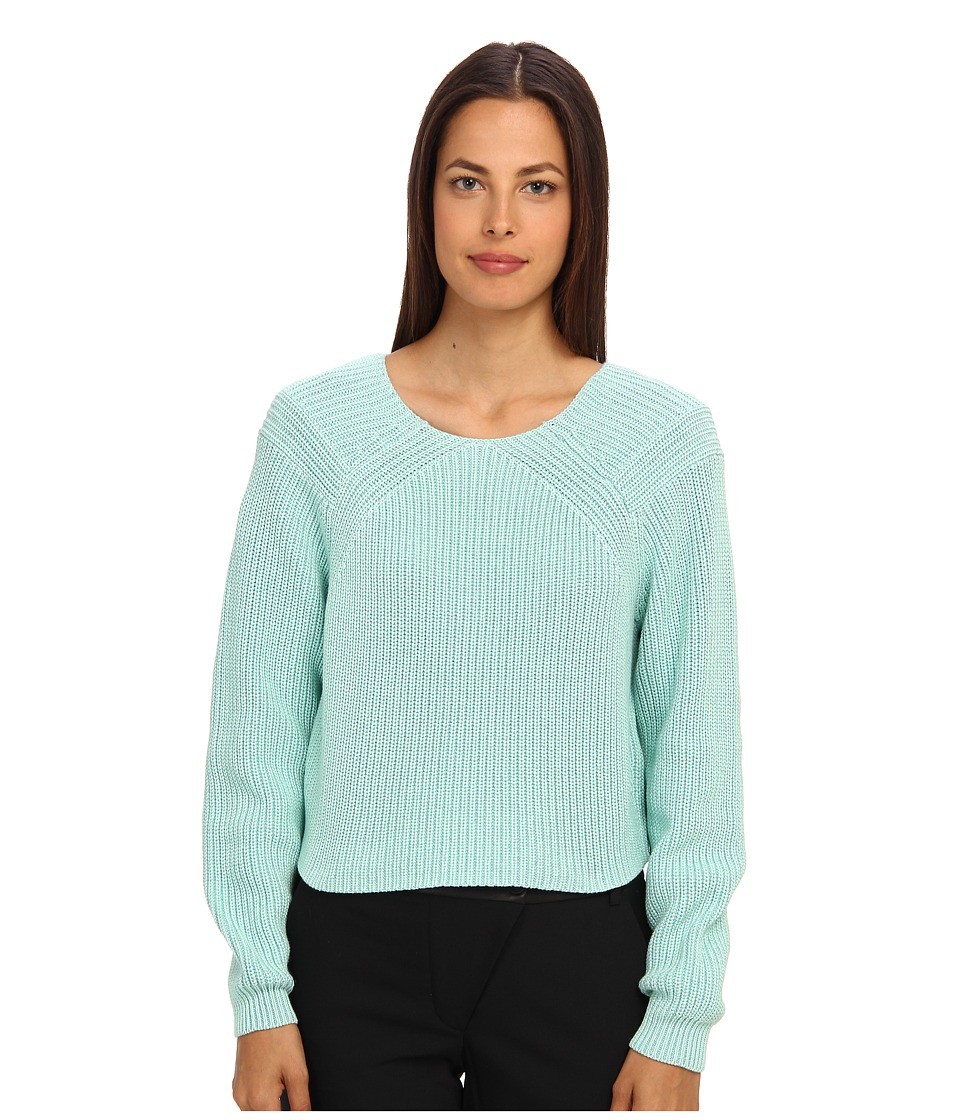 tibi - Plaited Sweater Cropped Pullover (Brook) Women's Long Sleeve Pullover