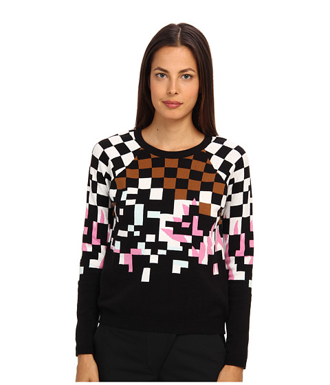 tibi - Plaited Jacquard Sweater Raglan Sleeve Jacquard Pullover (Black Multi) Women's Long Sleeve Pullover