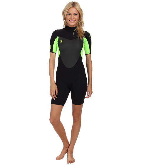 Body Glove - Method 2.0 Back Zip Springsuit (Black/Lime) Women's Wetsuits One Piece